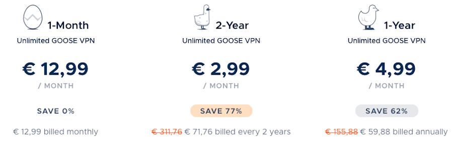 goosevpn pricing